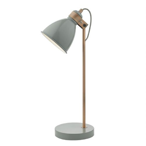 Frederick Table Lamp Gloss Grey/Copper (Class 2 Double Insulated)